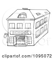Clipart Outlined Two Story School Building Royalty Free Vector Illustration by dero