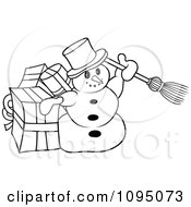 Clipart Outlined Snowman With A Broom And Gifts Royalty Free Vector Illustration