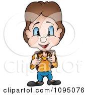 Clipart Happy School Boy Facing Front Royalty Free Vector Illustration by dero