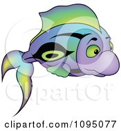 Clipart Colorful Purple Green And Black Fish Royalty Free Vector Illustration by dero