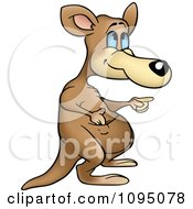 Clipart Kangaroo Pointing To The Right Royalty Free Vector Illustration by dero
