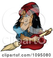 Clipart Creepy Witch Looking Back On Her Broom Royalty Free Vector Illustration by dero