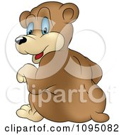 Clipart Rear View Of A Sitting Bear Looking Back Royalty Free Vector Illustration