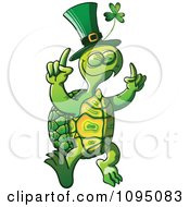 Clipart St Patricks Day Tortoise Dancing Royalty Free Vector Illustration by Zooco