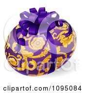 Clipart 3d Purple Floral Easter Egg With A Bow Royalty Free Vector Illustration