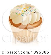 Clipart 3d Vanilla Cupcake With White Frosting And Colorful Sprinkles Royalty Free CGI Illustration
