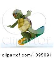 Clipart 3d Tortoise Snowboarding Royalty Free CGI Illustration