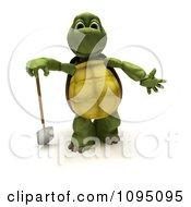 3d Tortoise Leaning On A Gardening Spade