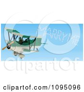 Clipart 3d Tortoise Pilot Spelling Marry Me In The Sky With A Biplane Royalty Free CGI Illustration by KJ Pargeter