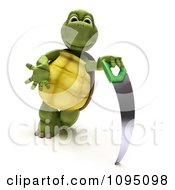 Clipart 3d Tortoise Leaning On A Saw Royalty Free CGI Illustration