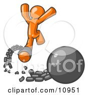 Orange Man Jumping For Joy While Breaking Away From A Ball And Chain Getting A Divorce Consolidating Or Paying Off Debt Clipart Illustration