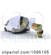 Clipart 3d Tortoises Loading Moving Boxes Into A Van Royalty Free CGI Illustration