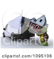 Clipart 3d Tortoises A House Into A Moving Van Royalty Free CGI Illustration