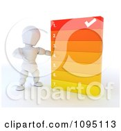 Clipart 3d White Character Going Over A Numbered List Royalty Free CGI Illustration