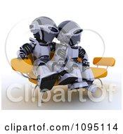 Clipart 3d Robot Couple Cuddling On A Sofa Royalty Free CGI Illustration