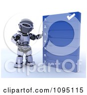 Clipart 3d Robot Going Over A Numbered List Royalty Free CGI Illustration