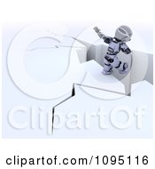 Clipart 3d Robot Balancing On A Cliff Royalty Free CGI Illustration