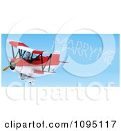 3d White Character Pilot Spelling Marry Me In The Sky With A Biplane