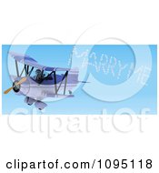 Clipart 3d Robot Pilot Spelling Marry Me In The Sky With A Biplane Royalty Free CGI Illustration by KJ Pargeter