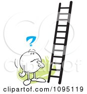 Clipart Contemplating Moodie Character Looking At A Ladder Royalty Free Vector Illustration