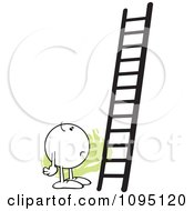 Clipart Doubtful Moodie Character Looking At A Ladder Royalty Free Vector Illustration