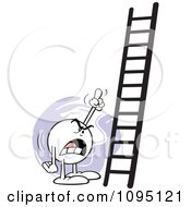Clipart Bossy Moodie Character Pointing At A Ladder Royalty Free Vector Illustration