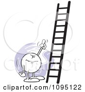 Clipart Moodie Character Pointing At A Ladder Royalty Free Vector Illustration