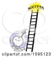 Clipart Moodie Character Pointing At A Ladder To Success Royalty Free Vector Illustration