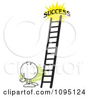 Clipart Doubtful Moodie Character Looking At A Ladder To Success Royalty Free Vector Illustration