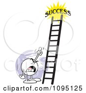 Clipart Bossy Moodie Character Pointing At A Ladder To Success Royalty Free Vector Illustration