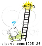 Clipart Contemplating Moodie Character Looking At A Ladder To Success Royalty Free Vector Illustration