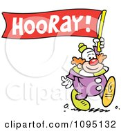 Clipart Clown Carrying A Hooray Banner Royalty Free Vector Illustration by Johnny Sajem