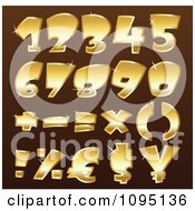 Clipart Sparkly Golden Math Symbols And Numbers Royalty Free Vector Illustration by yayayoyo