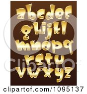 Clipart Sparkly Golden Lowercase Letters Royalty Free Vector Illustration