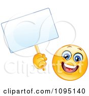 Clipart Happy Emoticon Smiley Face Holding A Blank Sign Royalty Free Vector Illustration