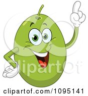 Clipart Happy Green Olive With An Idea Royalty Free Vector Illustration