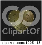 Clipart 3d Gold Riveted Heart On Black Leather Royalty Free CGI Illustration