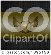 Clipart 3d Gold Winged Disco Ball With Headphones On Brushed Gold On Perforated Metal Royalty Free CGI Illustration
