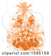 Clipart Orange Surfboards With Hibiscus Flowers A Palm Tree And Grunge Royalty Free Vector Illustration
