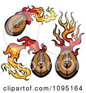 Three Flaming American Footballs