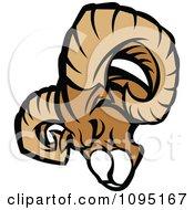 Clipart Ram Mascot Head Tilted Forward Royalty Free Vector Illustration