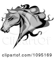 Clipart Gray Horse Head With Black Hair Royalty Free Vector Illustration by Chromaco