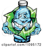 Happy Water Bottle Mascot Holding Recycle Arrows