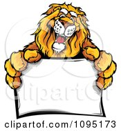 Clipart Friendly Lion Mascot Holding A Sign Royalty Free Vector Illustration