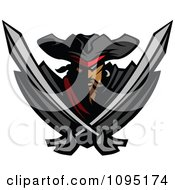 Clipart Tough Pirate Mascot With Two Crossed Swords Royalty Free Vector Illustration by Chromaco