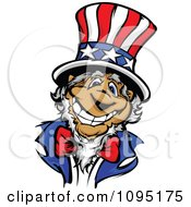 Clipart Jolly Uncle Sam Smiling And Wearing An American Top Hat Royalty Free Vector Illustration