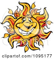 Clipart Friendly Sun Mascot Smiling Royalty Free Vector Illustration