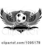Clipart Black And White Winged Soccer Ball Banner And Shield Royalty Free Vector Illustration by Chromaco
