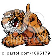 Clipart Strong Tiger Mascot Champion Flexing And Holing Up A Finger Royalty Free Vector Illustration by Chromaco