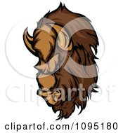 Clipart Buffalo Mascot Head Royalty Free Vector Illustration by Chromaco